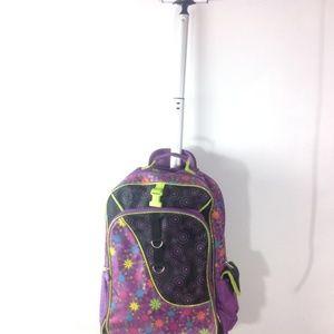 Handbags - Ruz Travel Rolling Wheel Backpack School Book Bag